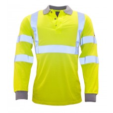 Portwest FR77 Flame Resistant Anti-Static Hi-Vis Long Sleeve Polo Shirt