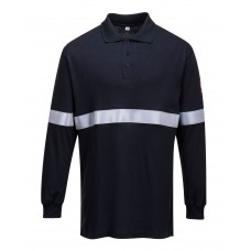 Portwest FR03 Flame Resistant Anti-Static Long Sleeve Polo Shirt with Reflective Tape