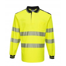 Portwest T184 PW3 Hi-Vis Long Sleeve Polo Shirt