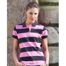 FR211 Ladies Striped Pique Polo